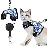 Cat Harness and Leash Set - Adjustable Escape Proof Cat Vest Harness Soft Breathable Mesh for Outdoor Walking, Summer Coconut Tree Pattern