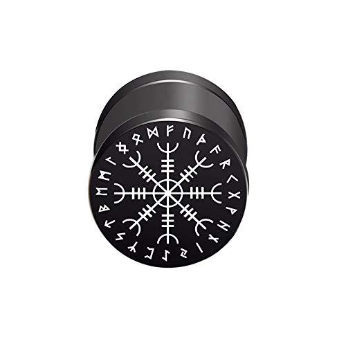 BlackAmazement Pendiente falso dilatador de acero inoxidable 316L, con jalmur Aegishjalmur Aegishjalmr, símbolo vikingo, casco de terror de honor, 10 mm, negro, para hombre y mujer