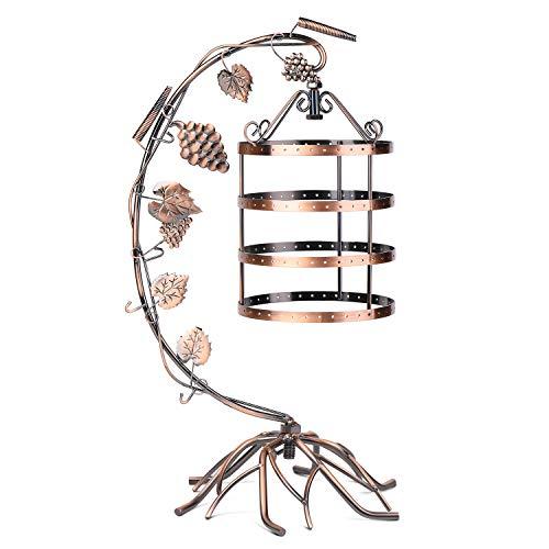 Flexzion Soporte de Cobre Antiguo con diseño de Jaula de pájaros para Joyas, Organizador con 144 Agujeros para Pendientes, Collares y Pulseras, Expositor para Accesorios en Tienda y mostrador