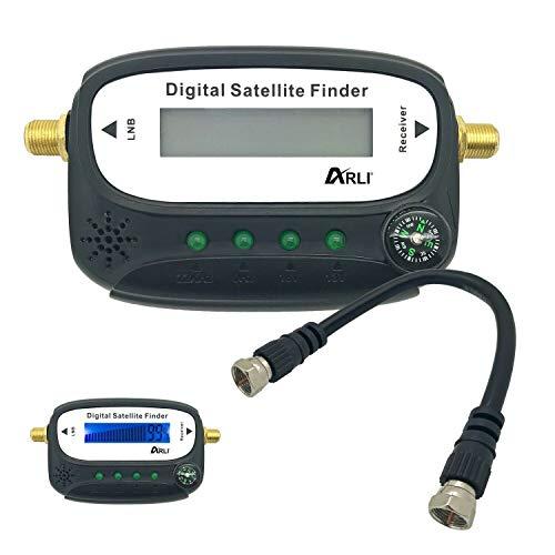 HD Satfinder Digital Sat Finder Set Satelliten mit LCD Display + Anschlusskabel Signalton zum Ausrichten Satelliten-Antennen Anschlusskabel Signal vergoldet Kabel Set Camping Wohnwagen Boot ARLI 4K