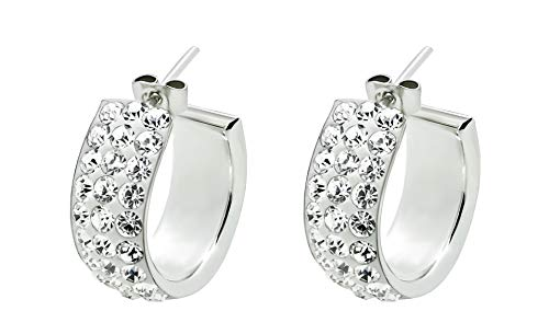 Blitz Fab Creolen breit Silber 925 Ohrringe aus echtem Sterling Silber 925 Damen Schmuck Zirkonia Durchmesser 2cm Kristall Ohrschmuck für Frauen mit Geschenk Box