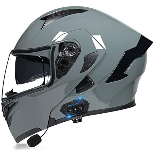JINGF Modulare per Casco Moto,Bluetooth Casco per Moto Integrale,ECE/DOT Integrale Casco per Motorino Scooter Uomo Donna,Rimovibile Motocross Motocicletta Apribile Caschi Doppia Visiera,B,M(57~58cm)