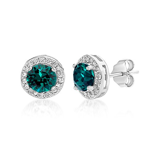 Devin Rose Sterling Silver Round Halo Stud Earrings for Women made With Swarovski Crystals (Emerald Crystal Imitation May Birthstone)