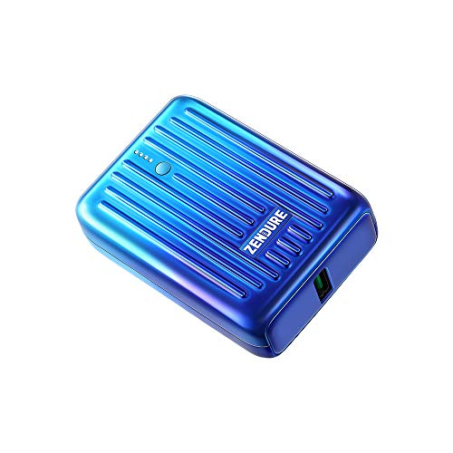 Zendure Power Bank Supermini 10,000mAh USB-C 18W PD Portable Charger Credit Card Size Ultra-Small Fast Charging External Batteries for iPhone, Samsung Galaxy, Nintendo Switch and More-Blue Horizon