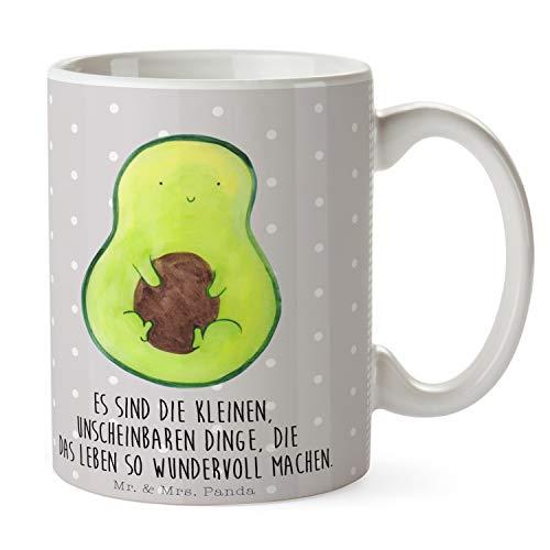 Mr. & Mrs. Panda Frühstück, Tee, Tasse Avocado mit Kern mit Spruch - Farbe Grau Pastell