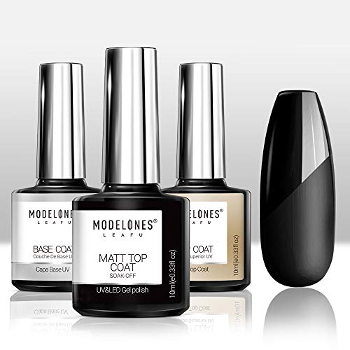 Modelones Matte Gel Top Coat With Base Top Coat Gel Nail Polish, No Wipe Top Coat LED Nail Lamp Needed, Soak Off Varnish 3x10ml, High Gloss Shiny and Matte Effects in One Set