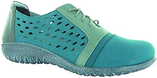 NAOT Women's Lalo Teal Nubuck/Sea Green LThr/Tin Gray Lthr Lace-up Shoe 6 M US