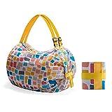 ZOVCO Bolsas reutilizables para la compra, bolsas de la compra, plegables, ecológicas, gran bolsa para supermercado, capacidad para frutas y verduras, impermeables, ligeras, color amarillo