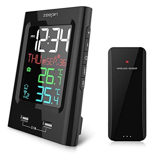 ZEEPIN YT60165-4 Sveglia Wireless a Colori per Interni termometro Esterno con sensore Wireless e Due Caricabatterie USB per la casa