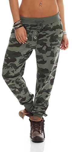 Shirtella 121 Damen Camouflage Militär Hose Sweatpants Jogginghose Baumwolle Freizeithose Sweathose mit Gummibund Oliv