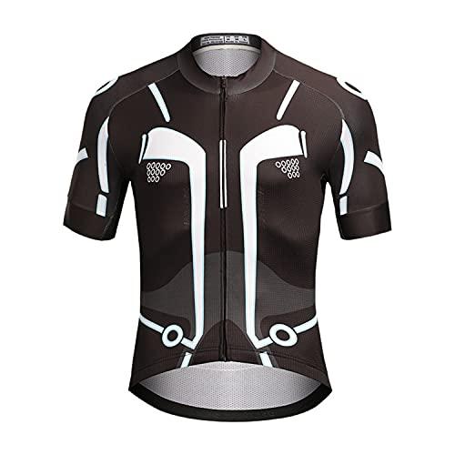 WFGZQ Maillot de Ciclismo de Manga Corta para Hombre MTB de Camiseta con Bolsillo