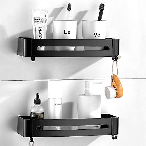 Hodzeed 2Stück Befestigen Ohne Bohren Kleben Duschregal Schwarz, Aluminiumlegierung Bad Duschablage Duschkorb für Shampoo (Duschablage)