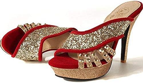 HommesGLTX Talon Aiguille Talons Hauts Sandales Plus Grande Taille 32-46 Femmes Pantoufles D'été Style Sandales De Mode Peep Toe Talons Hauts Chaussures De Mariage De Femme F13