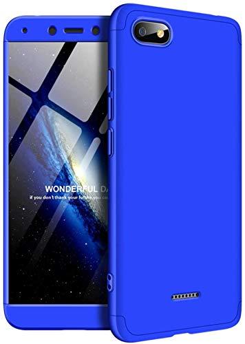 TXLING Custodia per Xiaomi Redmi 6A Cover 360°Copertura Protettiva Case PC Guscio Duro Anti Shock Anti-graffio Bumper Caso Blu+ (1 Pezzi) Pellicola Protettiva