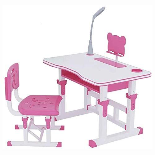 Escritorio para niños, juego de mesa y silla de estudio para niños, escritorio ajustable para niños, escritorio para estudiantes de escuela con cajón extraíble, estuche para lápices, atril para niños