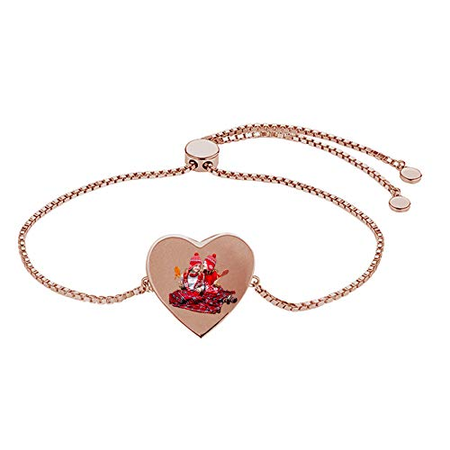 TheBigThumb Engraved Photo Heart Bracelet Personalized Simple Sterling Silver Bangle Christmas New Year Birthday Ideas for Her(Rose Gold-5.5')