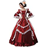 Colonial Georgian Penny Dreadful Victorian Dress Gothic Period Ball Gown Reenactment Theater Costumes (M, Red)