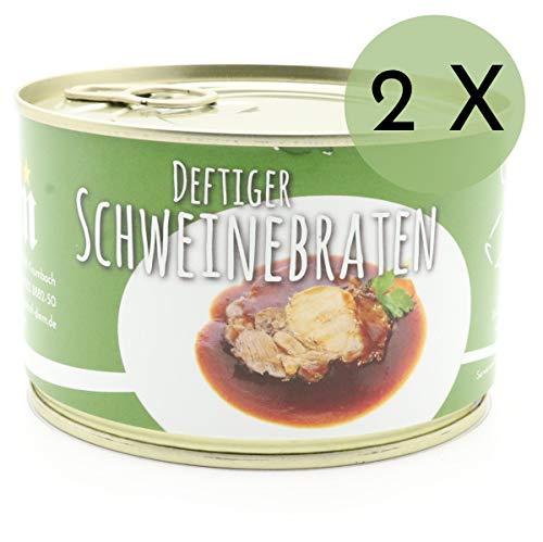 2 X Konserve Diem 400g Schweinebraten - Sonntagsbraten - Braten Soße - 240g Fleisch aus der Schulter je Konserve - lange haltbar (14,99€ / Kg)
