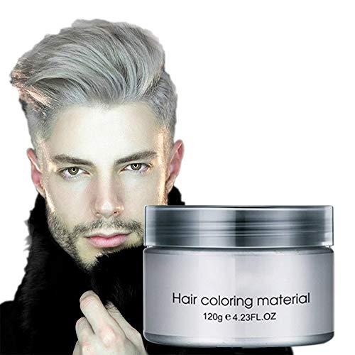 Coloración del cabello Cera Desechable Peinado mate instantáneo Crema de barro Pomadas para el cabello para niños Hombres Mujeres Cosplay Cosplay Discoteca Mascarada Transformación (Gris)