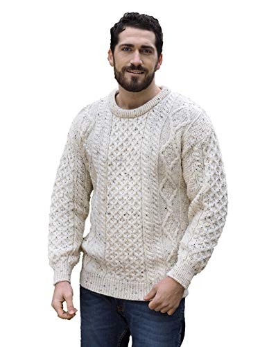 Aran Crafts Irish Soft Cable Knitted Wool Crew Neck Sweater (C1347-XL-FLK)
