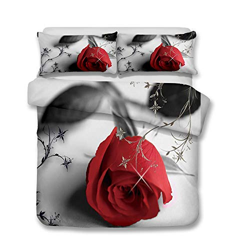 Stillshine Juego de Ropa de Cama para niñas Amor 3D Flor Blanco Rosado Negro Azul Gris Verde Rojo Rosa Floral Funda nórdica y Funda de Almohada (Rosa Azul, 220 x 240 cm - Cama 150 cm)