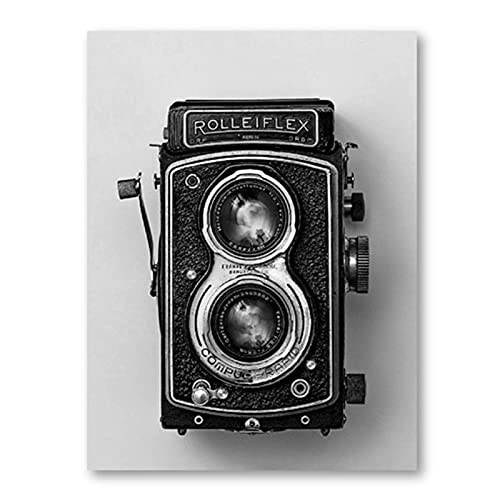 Vspgyf Rolleiflex Old Camera Poster Negro Blanco Vintage Cámara Impresión Hipster Regalo Fotografía Arte de la Pared Pintura de la Lona Decoración Retro -50x70cmx1pcs -Sin Marco