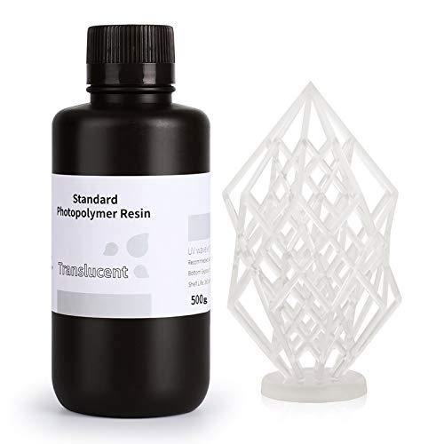 ELEGOO Stampante 3D Resina veloce LCD 405nm Resina fotopolimerizzante UV Resina fotopolimerica standard per stampa 3D LCD Traslucido 500g
