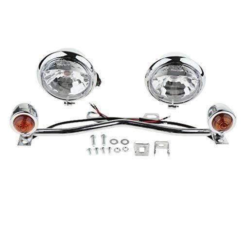 B Blesiya Moto Kit Clignotant avec Support de Barre Feux Indicateur Lumière Tournage - Chrome