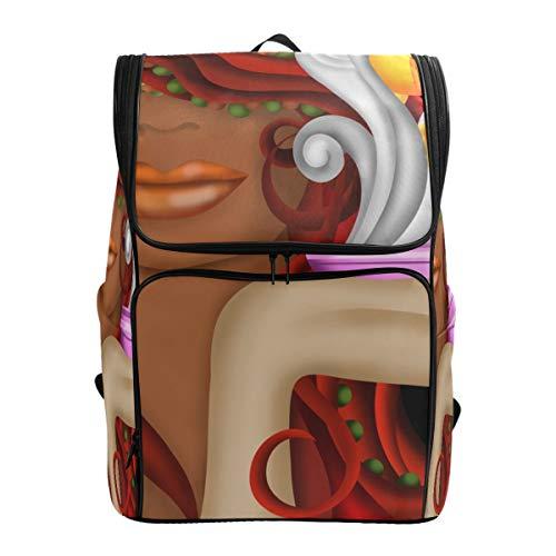 Mokale Dampfende Tasse Kaffee Gesicht Frau,Rucksack Rucksack Reisetasche Wanderrucksack College Student School Bookbag Reisetasche für Männer oder Frauen