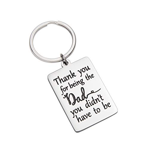 VANLOVEMAC Keychain Gift for Step Dad Stepfather Father in Law Gift Birthday Wedding Gift for Men Stepdad Step Father of Bride Groom Thank You for Being The Dad You Didn't Have to Be Christmas