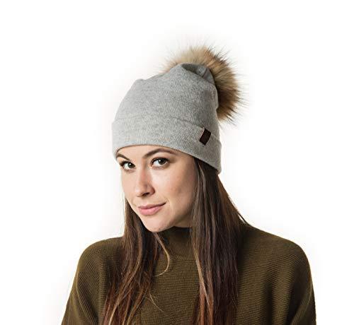 Marino Slouchy Beanie Hat for Women - Cashmere Blend - Rabbit Fur Pompom Light Gray