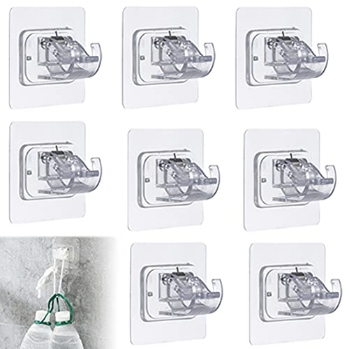 8 Pack No Drill Curtain Rod Brackets, Adhesive Curtain Rod Holder, 3M No Nail Free Easy Hang Curtain Brackets, Drapery Hook Fixing Rod Holder Curtain Pole Wall Brackets Towel Rod Hooks for Home