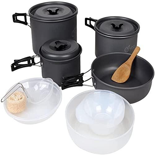 QQWER Camping Cooking Set, Folding Ultra-Light Portable Outdoor Kettle Aluminum Travel Pot Cooker,Black