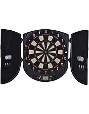 HOMCOM Diana Electrónica Digital con 6 Dardos hasta 8 Jugadores Marcador Puertas Laterales Pantalla LCD 44x4,4x50 cm Negro