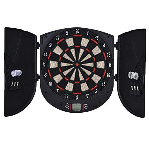 HOMCOM Diana Electrónica Digital con 6 Dardos hasta 8 Jugadores Marcador Puertas Laterales Pantalla LCD 46,5x4,4x50,5 cm Negro
