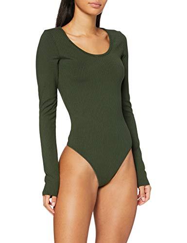 G-STAR RAW Womens Rib Body Slim T-Shirt, dk Algae C534-4748, XS
