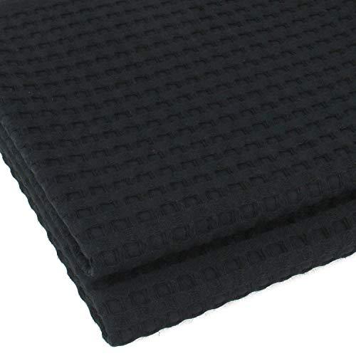 K&G 2er Set hochwertige Handtücher Waffelpikee Schwarz | 100% Baumwolle | Saugstark & Edel | Handtuch | Qualitäts Frottier | Badetuch | Handtuchset