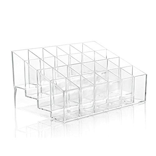 Aikesi Cosmétique Espace de Rangement Boîte de Maquillage Supporter Organisateur cosmétique Acrylique Cristal Stockage de Rouge à lèvres Porte-cosmétiques, avec 24 Sections