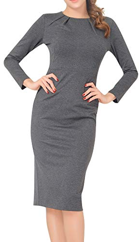 Marycrafts Women's Work Office Business Long Sleeve Pencil Midi Dress 14 Charcoal
