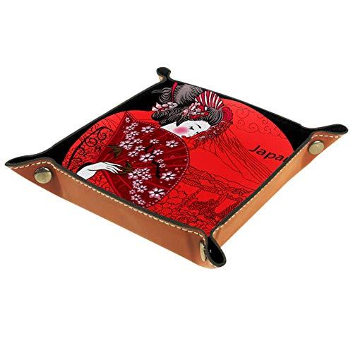 Caja de almacenamiento pequeña, bandeja de valet para hombre,Bandera de mujer japonesa,Organizador de cuero para llaves de caja de monedas