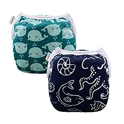 ALVABABY Swim Diapers Boys & Girls Reuseable Adjustable 2pcs 0-2 Years SW18-21