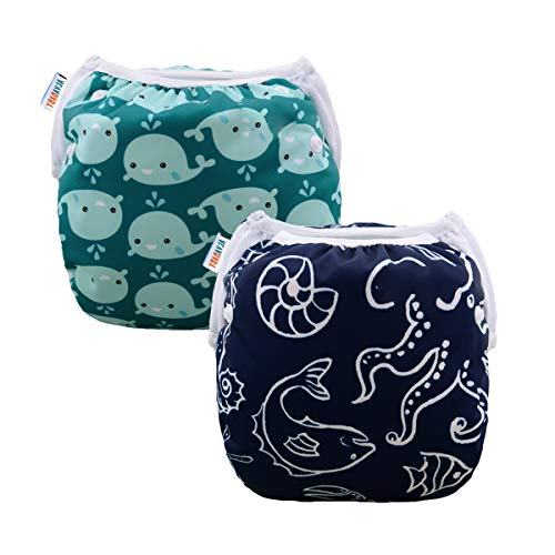 ALVABABY Swim Diapers 2pcs Reusable & Adjustable Baby Shower Gifts 0-2 Years SW18-21