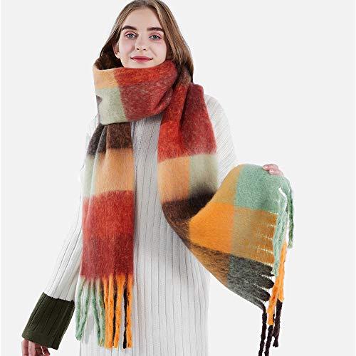 Schal Damen Frauen Color Check Bedruckter Schal Schal Herbst Und Winter Warmer Frauen...