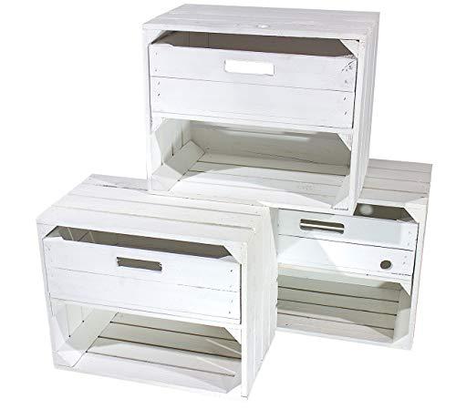 3X WEIßE OBSTKISTE mit SCHUBLADE - NEU - ideal als Beistellmöbel neben dem Bett oder der Couch mit Ablagefläche - 50x40x30 cm