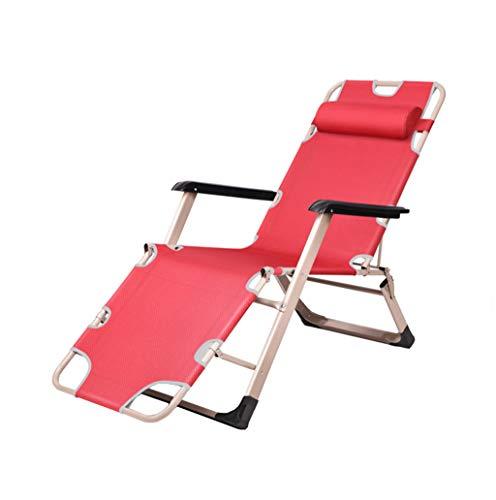 WQZB-Deckchairs Pliable inclinable Pause Déjeuner Siesta Lit Multifonction Canapé Lazy Home Garden Balcon de Plage Cool Chaise Dossier Portable Capacité de Charge 200 kg Rouge