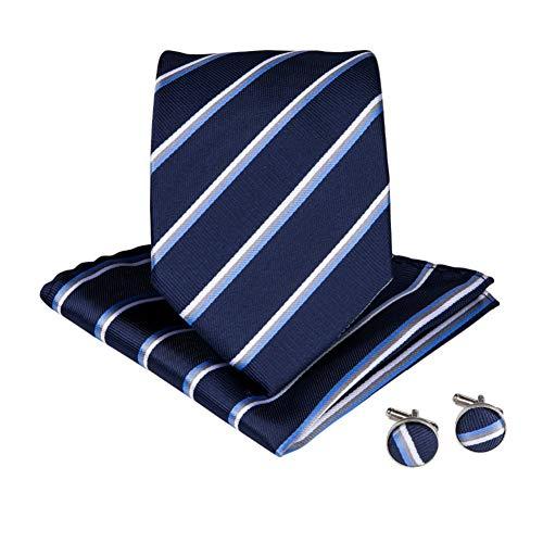 WOXHY Cravate Homme Boutons de Manchette en Mouchoir en Soie à Rayures Bleues Classiques pour Hommes