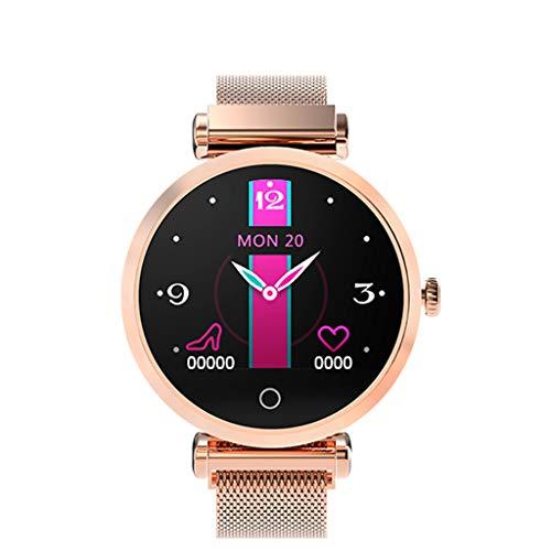 YWLINK Smartwatch Mujer♥R6 Diosa Reloj IP67 Inteligente Pulsera Monitor Ritmo CardíAco PresióN Arterial Monitor De SueñO PodóMetro FuncióN FisiolóGica Femenina Compatible con iOS Android(Oro Rosa)
