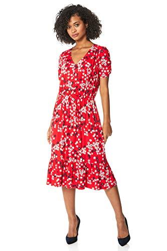 Roman Originals Vestido midi escalonado con estampado floral para mujer, casual, para primavera, verano, jardín, fiesta, barbacoa, vacaciones, manga 3/4, cintura elástica, vestido largo midi