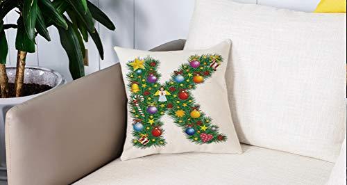 Square Soft and Cozy Pillow Covers,Letra K, colorida carta festiva de pino de Navidad con adornos de caramelo y figuras de ángeles,Funda para Decorar Sofá Dormitorio Decoración Funda de almohada.