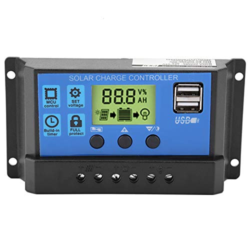 PWM 12V 24V Dual USB Panel Solar Regulador de Carga, Pantalla LCD 10/20 / 30A Controlador de Carga Solar(YJSS-30A)